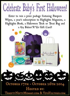 "Win a prize pack to celebrate baby's first Halloween, including a $75 Babies ""R"" Us Gift Card!"