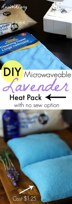 Made from Dollar Store items- rice filler and cleaning clothes these quick and easy DIY Microwaveable aromatherapy Lavender heat packs pads ease sore muscles, kids or an achy back. The best part is it only cost about 1.25 to make. Also a no-sew sock option- no pattern necessary.  Great gift for runners or fitness people. Half Marathon training   tips   crafts   running