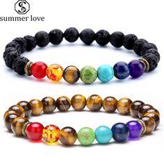 7 Chakra Healing Beaded Bracelet/Natural Lava Stone For Women/Men Metal Bracelets, Beaded Bracelets, Chakra Healing Stones, Tigers Eye Gemstone, Tiger Eye Beads, Chakra Bracelet, Healing Bracelets, Hamsa Hand, Yoga Jewelry