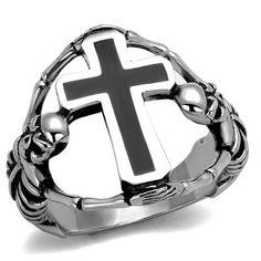 High Polished Stainless Steel Epoxy Skeleton Cross Men's Ring
