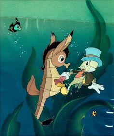 Pinocchio Jiminy Cricket and Seahorse Production Cel (Walt Disney, Outstanding hand-inked and - Available at 2013 February 21 & 23 Animation. Old Disney, Disney Love, Disney Magic, Disney Art, Disney Pixar, Vintage Disney, Jiminy Cricket, Disney Animated Movies, Walt Disney Animation Studios