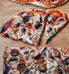 vegan sausage + veggies pizza with beer pizza crust (field roast smoked apple sage sausage and Daiya jalapeno garlic havarti style wedge)
