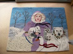 Rug hooked Snow Angel by Trudy Bolduc