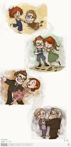 Carl & Ellie. Pixar's Up...one of the most beautiful movie montages ever, an unexpected gift from the artists at Pixar.