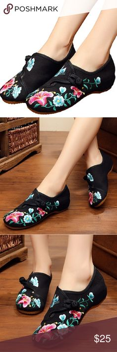 Black Floral Embroidered Kicks Chinese Shoes Cotton-blend Easy On and Off Non-Skid SoleRubber sole Perfect for costume and daily casual Chinese traditional style Fresh and elegant pattern New in Box Embroidered Kicks Shoes Flats & Loafers