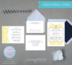 Vintage Preppy Wedding Invitation Suite with Modern Floral and Monogram.
