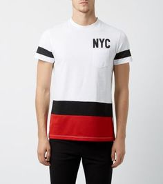 "Take urban approach to autumn looks with this NYC colour block tee. Black slim leg jeans and trainers complete the outfit.- Slim fit- Classic crew neck- '89' print on reverse- Stripe sleeve detail- Model is 6'0""/183cm and wears size Medium/Chest 96-101cm"