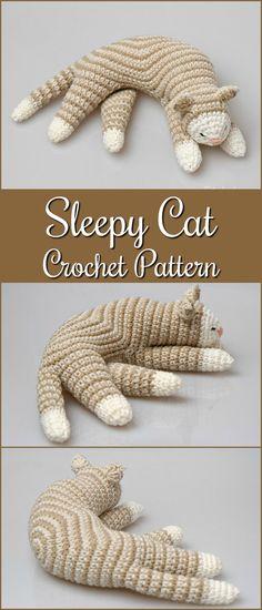 Sleepy Cat Crochet Pattern, Cat Amigurumi Pattern, home decor pattern, crochet sculpture, crochet art, toy pattern, kitten pattern, softie #etsy #ad #amigurumipattern #amigurumi #pdf