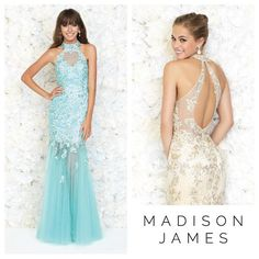 Formal Dresses I Formal gowns I Delicate embroidery and tulle make this gorgeous pastel halter breathtakingly stunning I Madison James Special Occasion Collection