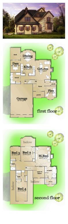 New House Plan | Tudor French House Plan 42813 | Total Living Area: 2845 sq. ft., 4 bedrooms 3.5 bathrooms. This plan was added to our collection on June 6, 2014. #houseplan #tudorstyle #frenchstyle