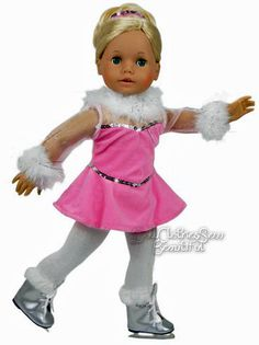 """Pink Velour Feather Trim Winter Skate Outfit for 18"""" American Girl Doll Clothes #Sophias"""