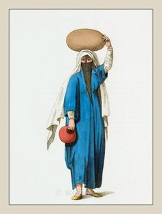 Arab woman costume from Egypt. Ottoman empire historical clothing