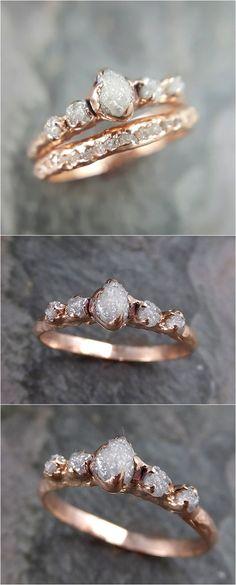 CUSTOM Raw Diamond Rose gold Engagement Ring Rough Gold Wedding Dainty Delicate Ring diamond Wedding Ring Rough Diamond byAngeline C0216