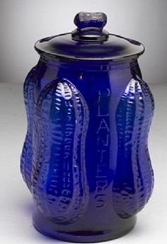 Large Cobalt Blue Glass Peanut Jar Cobalt Glass, Cobalt Blue, Im Blue, Blue And White, Fenton Glassware, Blue Things, Blue Bottle, Antique Lamps, Blue Plates