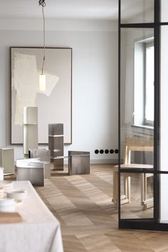 Spatial Sensibilities | an exhibition by Andreas Martin-Löf Arkitekter & Frama Studio - Hannah Trickett Minimalist Furniture, Round Side Table, Smooth Lines, Stackable Chairs, Plates And Bowls, Chair Design, Design Inspiration, House Design, Shelves