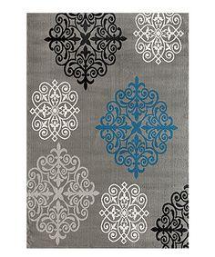 Gray & Blue Geometric Damask Rug #zulily #zulilyfinds