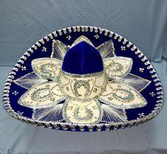 a74e8b4d90d63 Vintage Royal BLUE Pigalle XXXXX SOMBRERO Hat MARIACHI Mexican MEXICO   Pigalle  Sombrero