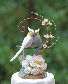 Romantic Spring Cockatiels Wedding Cake Topper in Pale Pink and Cream by TeaOlive on Etsy