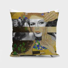 Discover «Klimt's The Kiss & Rita Hayworth with Glenn Ford», Numbered Edition Throw Pillow by Luigi Tarini - From $27 - Curioos