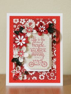 Handmade Paper Quilling Red White Greeting Card with Amazing Quilled Flowers and Bicycle (Birthday, Anniversary)  Life is like riding a