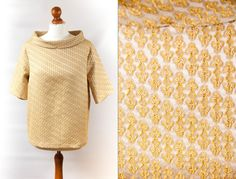 60's style blouse size XL, golden blouse, 60's blouse, yellow blouse, blouse vintage, womens blouse, short sleeve blouse by VintageEuropeDesign on Etsy
