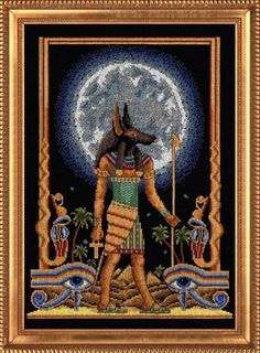 ru / Фото - 5 - inysja -- left out intentionally. won't effect final piece Cross Stitch Pattern Maker, Easy Cross Stitch Patterns, Simple Cross Stitch, Cross Stitch Designs, Beaded Cross Stitch, Cross Stitch Embroidery, Anubis, Egyptian Crafts, Ancient Egyptian Artifacts