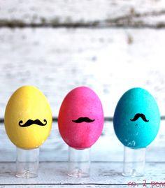 DIY Mustache Easter Eggs.