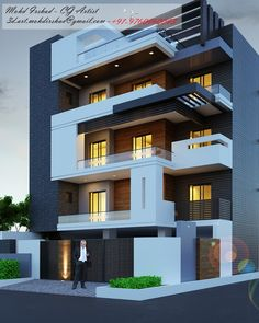 3 Storey House Design, Bungalow House Design, House Front Design, Modern Bungalow, Modern Exterior House Designs, Best Modern House Design, Modern House Plans, House Construction Plan, Architecture Design