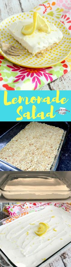 Easy peasy lemon squeezy. That is the best way to describe this refreshing salad. It takes no time to make but packs a punch of delicious, creamy, lemon flavor. It's sweet and tart and with a hint of salt from the crust. This will be great served at a picnic or on any dessert table.
