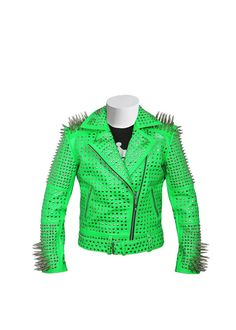 #Men #Green #Studded #leather #jacket, #Green #Punk #Studded #Jacket, #Leather #jacket #men, #punk #jacket, #studded #jacket, #spiked #leather #jacket Spiked Leather Jacket, Studded Jacket, Biker Leather, Cowhide Leather, Leather Jackets, Real Leather, Cow Leather, Black Leather, Belted Cow