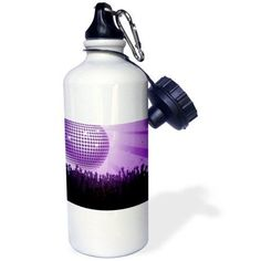 3dRose Pretty Purple Disco Ball With Hands, Sports Water Bottle, 21oz