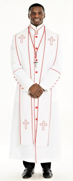 Divinity Clergy Wear offers the best in clergy robes and other church vestments. Divinity is the leader in clergy shirts as well as church suits and double breasted suits around! Church Attire, Church Suits, Priest Outfit, Double Breasted Suit, Stylish, Coat, Sleeves, Embroidery Art, How To Wear
