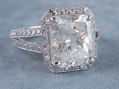 5.57 ctw Radiant Cut Diamond Engagement Ring H SI3-I1. For sale on our website www.bigdiamondsusa.com or call us at 1-877-795-1101 for more information.