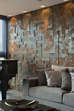 Wandgestaltung an aged metal accent wall brings industrial esthetics to the living room How To Care Wall Cladding Interior, Interior Walls, Interior Design, Wooden Wall Decor, Wooden Walls, Stone Cladding, Dining Room Walls, Stone Wall Living Room, Textured Walls