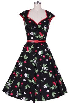 c74a4cc3fca 1950s vintage rockabilly cherry print swing black housewife dress 50s  Dresses