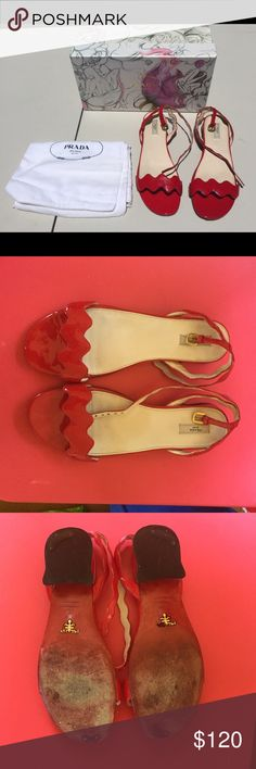 Prada red patent leather sandals ❤️❤️ These Prada shoes have been well loved. From the spring-summer collection 2008. Made in Italy. They still have a lot of life left. Please see all pictures for flaws. These come with the original box and Prada bag. Please ask questions. ❤️❤️ Prada Shoes Sandals