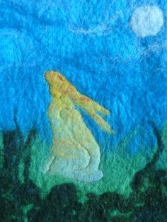 Hare by Moonlight - Hand Felted Wall Hanging by LittleDeb Wet Felting, Needle Felting, Moonlight Painting, Rainbow Palette, Felt Wall Hanging, Felt Pictures, March Hare, Felt Art, Fabric Art