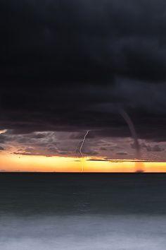 Amazing Storm - Waterspout & Lightening