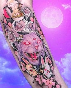 Hairstyle fashion Frisur Mode 2018 Tattooing for women - Tattoo Henna, Tattoo You, Arm Tattoo, Sleeve Tattoos, Pokemon Tattoo, Badass Tattoos, Body Art Tattoos, Tatoos, Pastell Tattoo