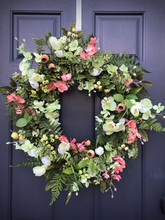 Spring Wreaths Spring Door Wreath Pink Green Wreath Fern Wreath New Home Gift Housewarming Gift Mothers Day Gift Spring Door Decor Gift Idea Green Wreath, Floral Wreath, Spring Door Wreaths, New Home Gifts, Mother Gifts, Grapevine Wreath, Grape Vines, Pink And Green, House Warming