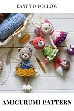 ADVANTAGEOUS OFFER! SET OF 3 CROCHET PATTERNS - Bunny Lilu, Fox Ellie and Kitty Berta! WHEN BUYING A SET YOU SAVE 15%!!!