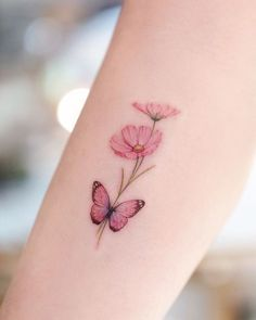 Simple Butterfly Tattoo, Butterfly Tattoos For Women, Butterfly Tattoo Designs, Pretty Tattoos For Women, Wrist Tattoos For Women, Pink Butterfly, Flower Tattoo Women, Simple Poppy Tattoo, Carnation Flower Tattoo