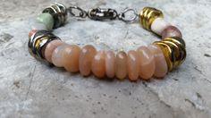 Gemstone Beaded Bracelet Sunstone/Jasper Earth by GemsJewelsGirls