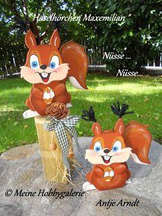 Haselhörnchen Maxemilian ~ Bastelarbeiten von Hobbygalerie Antje Arndt