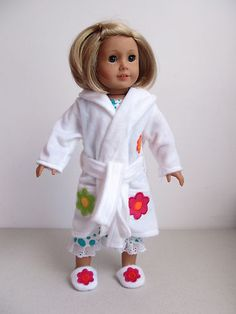Cute 2 Set Robe Pajamas Slippers 4 American Girl Doll