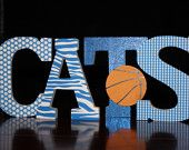 Kentucky Wildcats University of Kentucky sign Freestanding Wooden letters with basketball  - Wildcats Game room sign