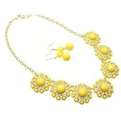 Necklace and earring set necklace and earring set link metal Yellow Fashion Jewelry Costume Jewelry fashion accessory Beautiful Charms: Jewelry: Amazon.com