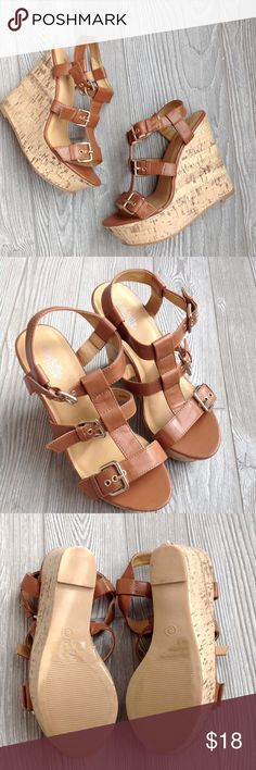 3 Buckle Wedges Pair of super cute brown three buckle wedge heels. Size 8 and only worn once, in great condition. They are faux leather and faux cork and have a 5 inch heel. Bundle to save even more!! Charlotte Russe Shoes Wedges