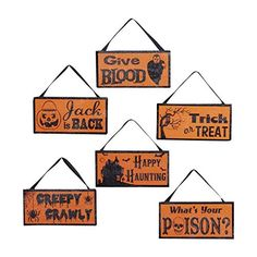 Hanging Halloween Signs Plaque BEWARE STAY OUT HAUNTED HOUSE Sign Plaques 3