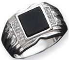 Sterling Silver Mens Cubic Zirconia and Onyx Ring - Size 11 - in Sterling Silver - Product Attributes: - CZ - Onyx - Open back - Polished - Solid - JewelryWeb Style: - FREE gift-ready jewelry box Sterling Silver Wedding Rings, Wedding Rings Solitaire, Mens Silver Rings, Silver Man, Mens Emerald Rings, Onyx Ring, Ring Ring, Platinum Ring, Fashion Rings